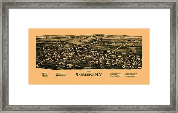 Map Of Rhinebeck 1890 Framed Print