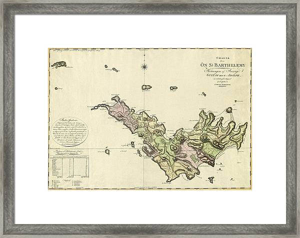 Map Of Saint Barts 1801 Framed Print