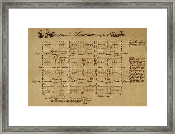 Map Of Savannah 1761 Framed Print