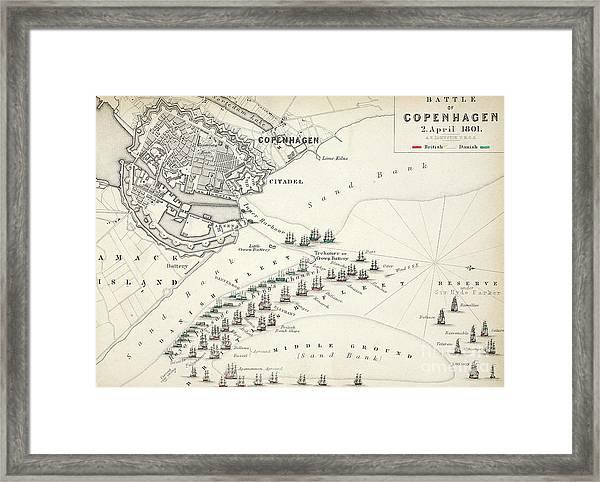 Map Of The Battle Of Copenhagen Framed Print