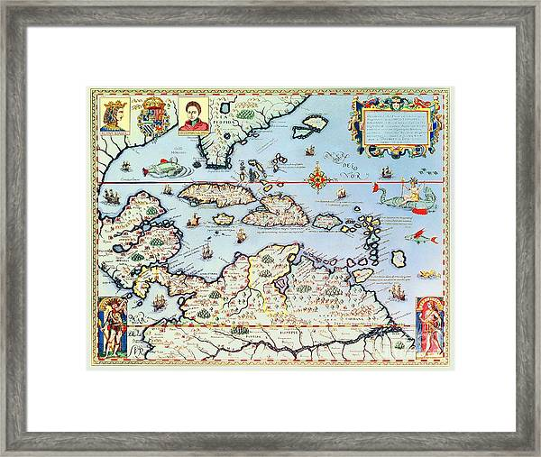 Map Of The Caribbean Islands And The American State Of Florida  Framed Print