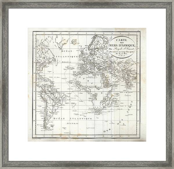 Framed Print featuring the drawing Map Of The Voyage To Explore Islands In The Seas Of Africa by J B Bory de Saint-Vincent