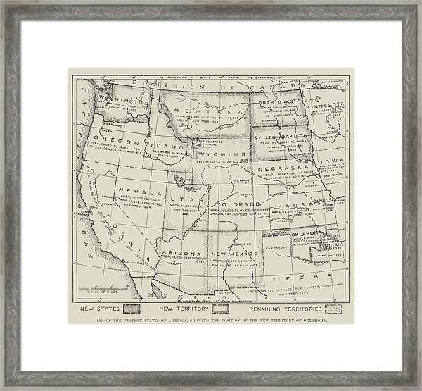 Map Of The Western States Of America Framed Print