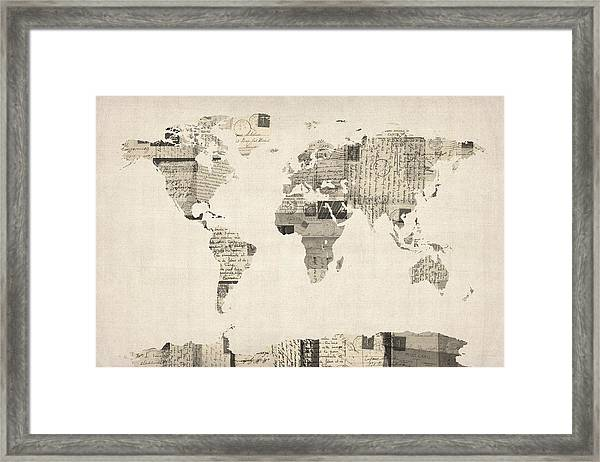 Map Of The World Map From Old Postcards Framed Print