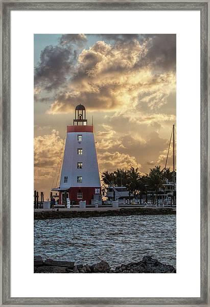 Marathon Light House Framed Print