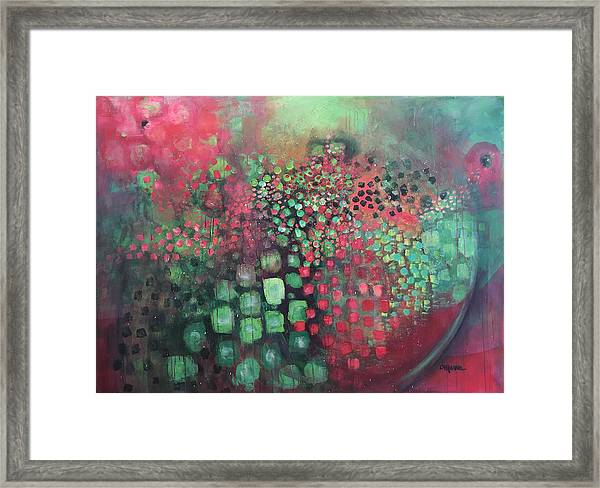 Framed Print featuring the painting March Of The Flamingos Stairway To Heaven by Laurie Maves ART