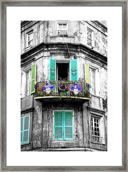 Mardi Gras Balcony Fusion New Orleans Framed Print