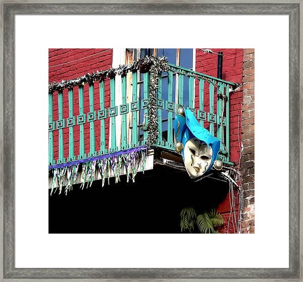 Mardi Gras Balcony Framed Print