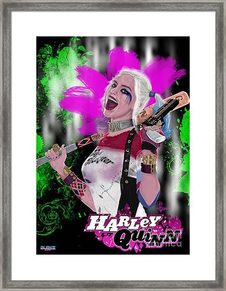 Margot Robbie's Harley Quinn Framed Print by Joseph Burke