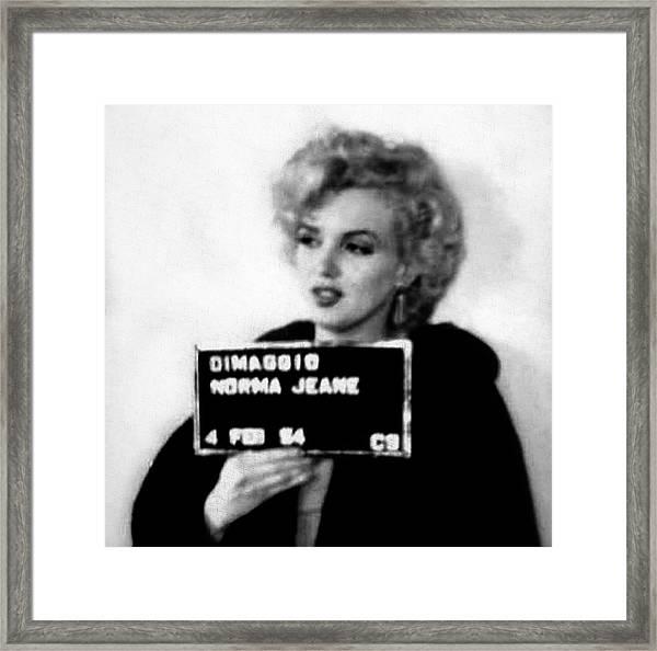Marilyn Monroe Mugshot In Black And White Framed Print