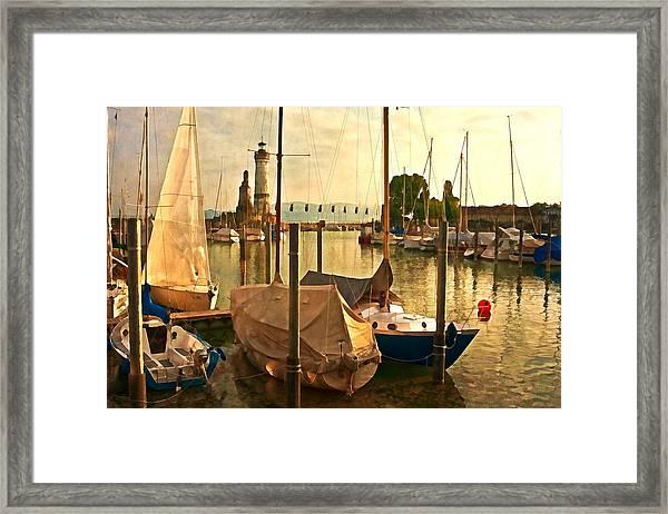 Marina At Golden Light - Digital Paint Framed Print