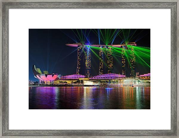 Marina Bay Sands Lasershow Framed Print