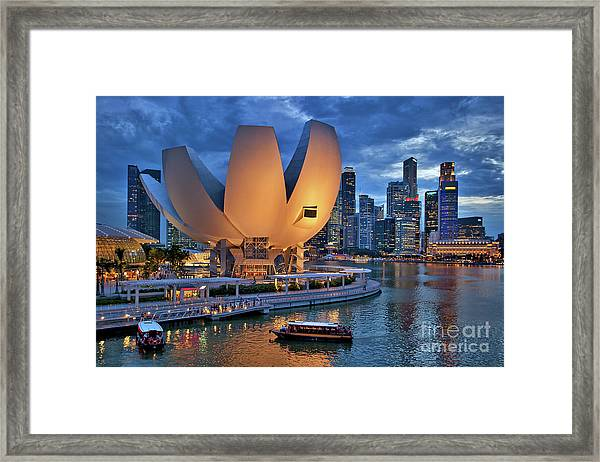 Framed Print featuring the photograph Marina Bay Sands Resort With The Singapore Skyline by Sam Antonio Photography