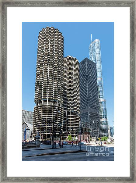 Marina City, Ama Plaza, And Trump Tower Framed Print