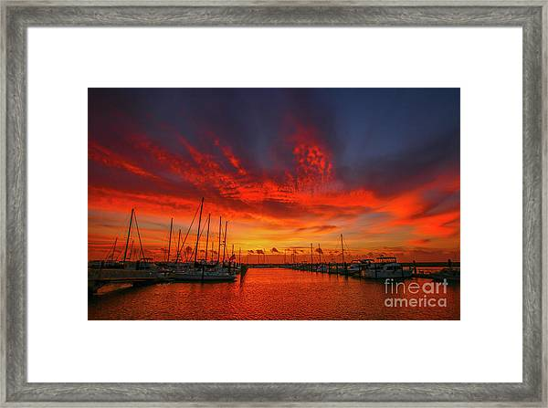Framed Print featuring the photograph Marina Sunrise - Ft. Pierce by Tom Claud