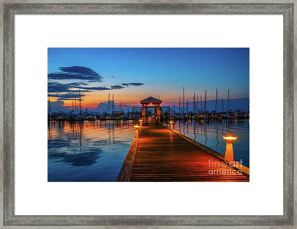 Framed Print featuring the photograph Marina Sunrise by Tom Claud