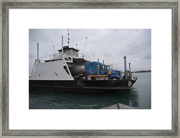 Marine City Mich Car Truck Ferry Framed Print