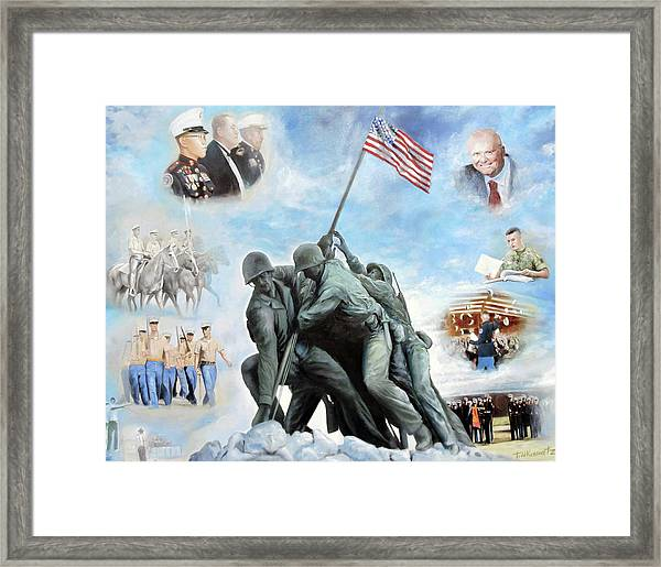 Marine Corps Art Academy Commemoration Oil Painting By Todd Krasovetz Framed Print