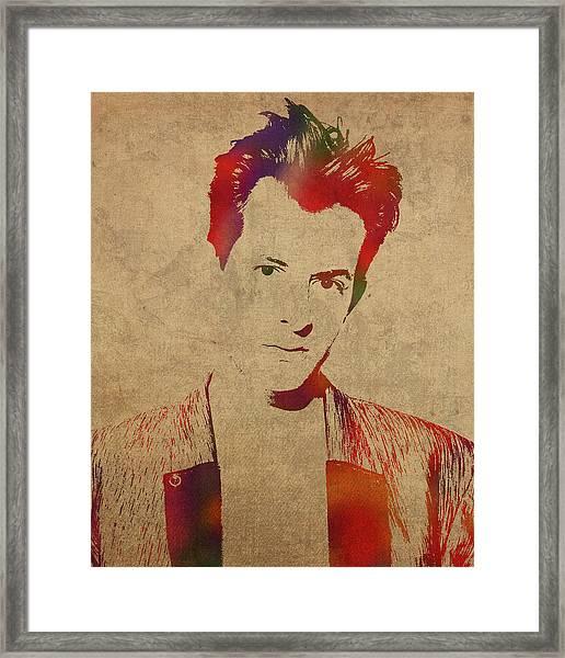 Mark Ronson Watercolor Portrait Framed Print