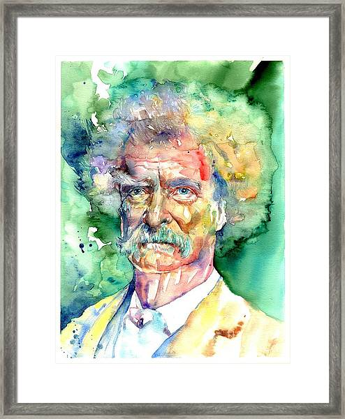 Mark Twain Watercolor Framed Print