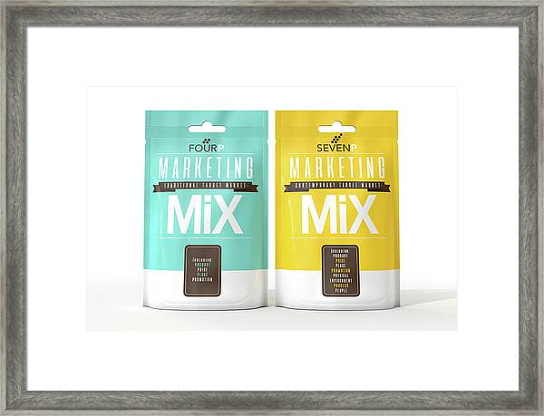 Marketing Mix 4 And 7 P's Framed Print