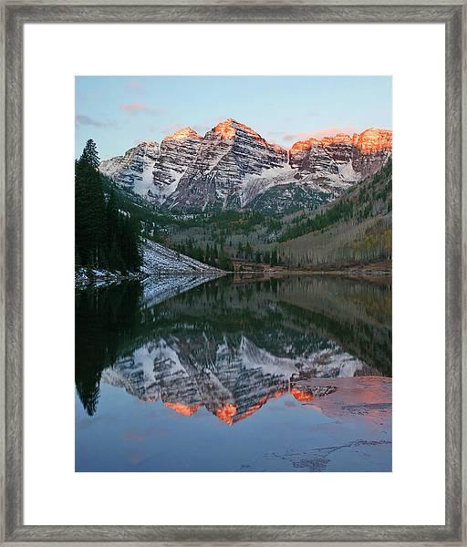 Maroon Bells At Sunrise Framed Print