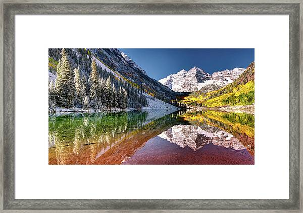 Olena Art Sunrise At Maroon Bells Lake Autumn Aspen Trees In The Rocky Mountains Near Aspen Colorado Framed Print