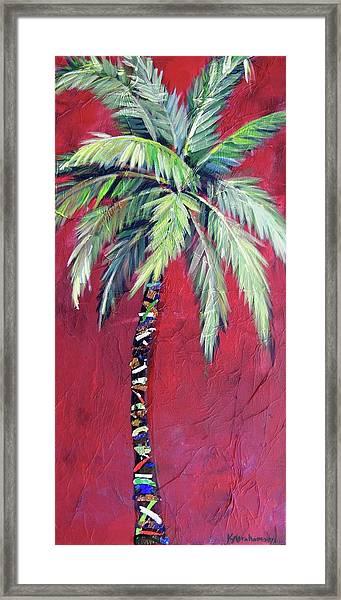 Maroon Palm Tree Framed Print