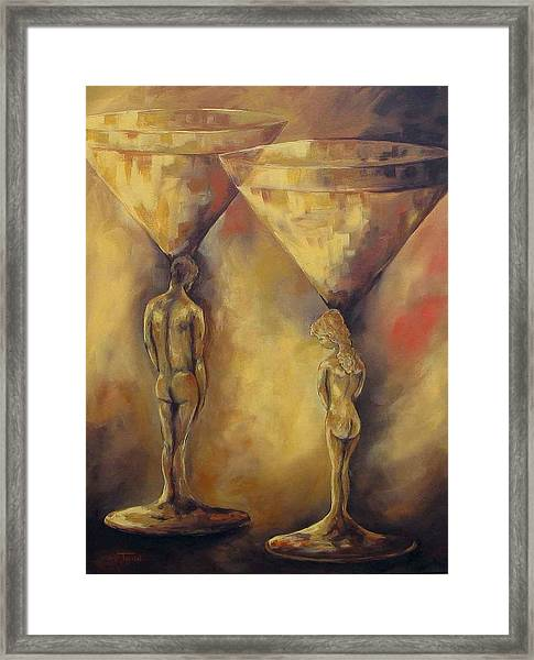 Marriage Of The Martinis  Framed Print