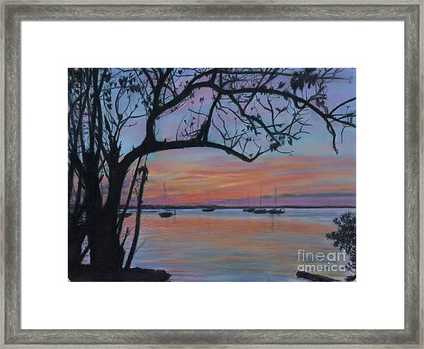 Marsh Harbour At Sunset Framed Print