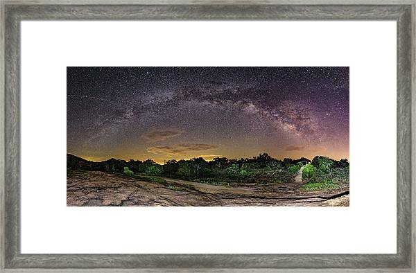 Marveling At The Creation Of God - Milky Way Panorama At Enchanted Rock - Texas Hill Country Framed Print