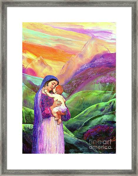 Mary And Baby Jesus Gift Of Love Framed Print