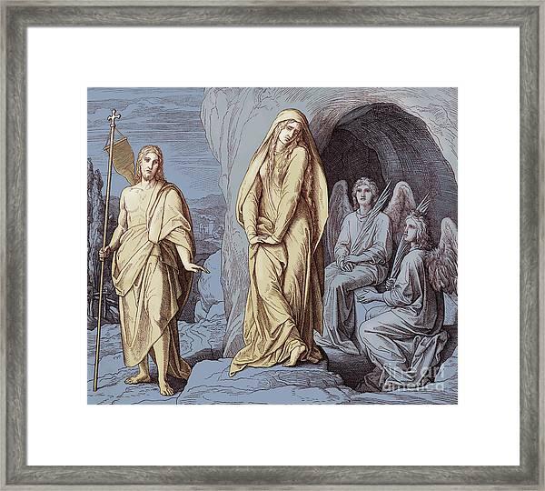 Mary Magdalene At The Tomb Of Christ, Gospel Of John Framed Print