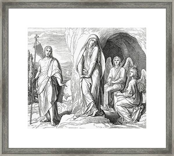Mary Magdalene At The Tomb Of Jesus Christ Framed Print