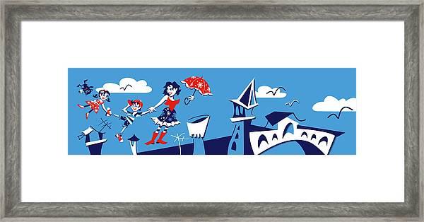 Mary Poppins Flying In Venice Skyline Framed Print by Arte Venezia