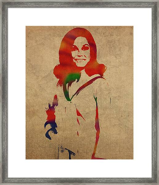Mary Tyler Moore Watercolor Portrait Framed Print