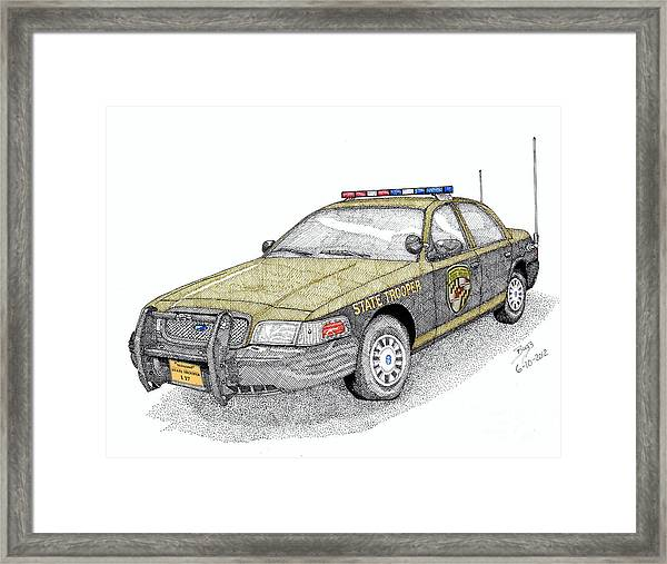 Maryland State Police Car Style 1 Drawing By Calvert Koerber