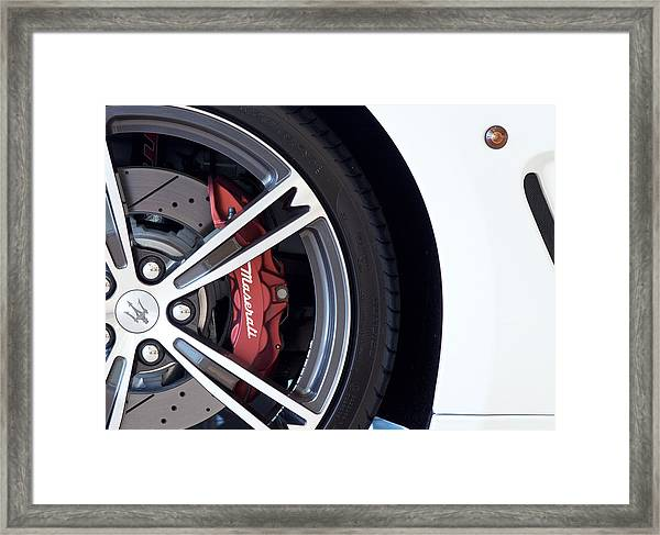 Maserati Wheel White Framed Print