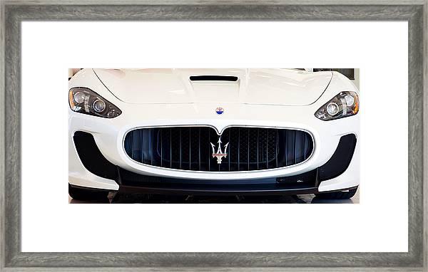 Maserati White Pano 121715 Framed Print