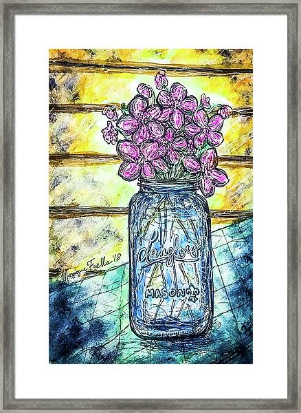 Mason Jar Bouquet Framed Print