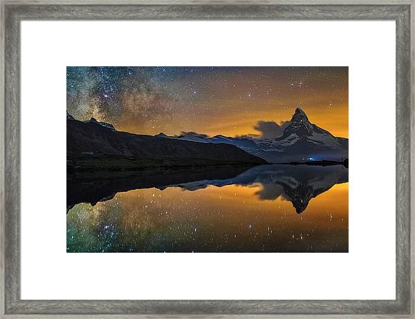 Matterhorn Milky Way Reflection Framed Print