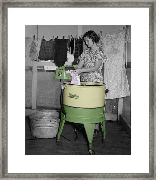 Maytag Woman Framed Print