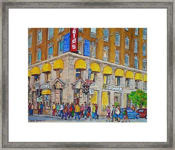 Mcdonald Restaurant Old Montreal Framed Print