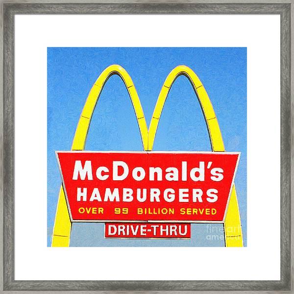 Mcdonalds Hamburgers . Over 99 Billion Served Framed Print