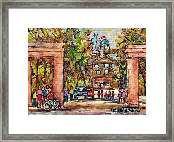 Mcgill Gates  Entrance Of Mcgill University Montreal Quebec Original Oil Painting Carole Spandau Framed Print