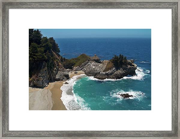 Mcway Falls In Big Sur Framed Print