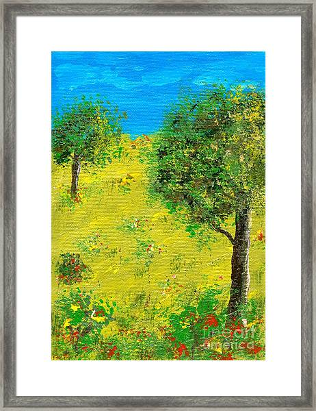 Meadow With Trees Framed Print by Sascha Meyer