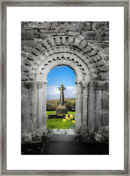 Medieval Arch And High Cross, County Clare, Ireland Framed Print