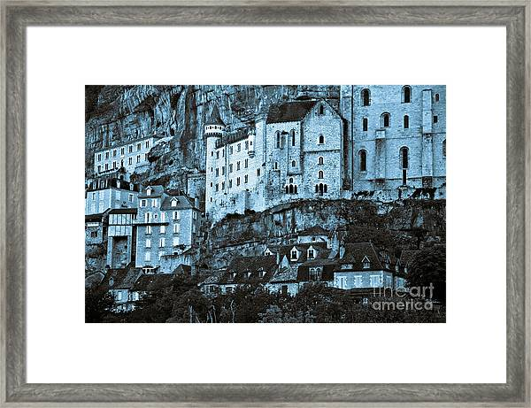 Medieval Castle In The Pilgrimage Town Of Rocamadour Framed Print
