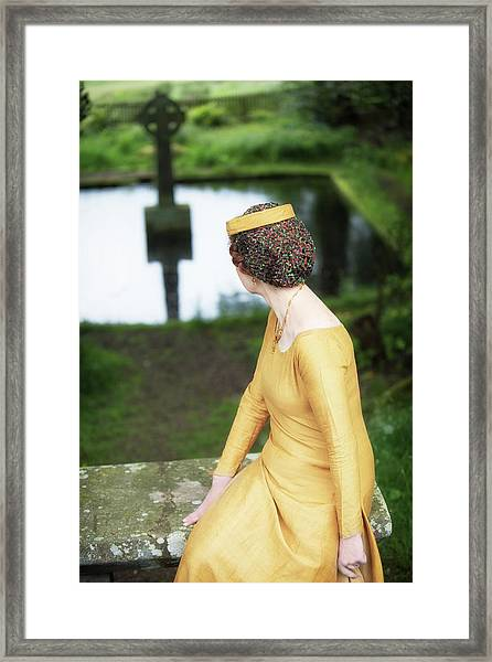 Medieval Lady  By Celtic Cross Framed Print